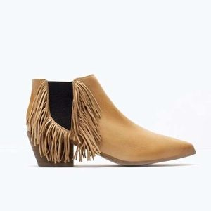 Zara real leather fringe booties